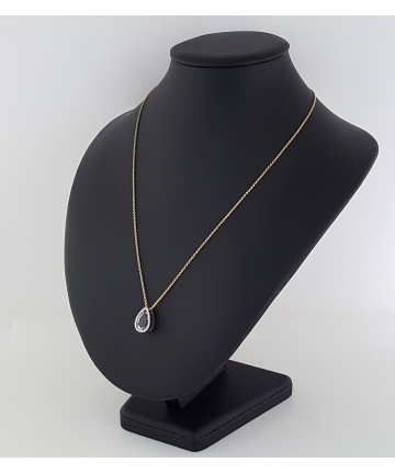 Złoty wisior na łańcuszku z ametystem oraz diamentami 0,18 ct