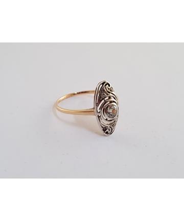 Złoty pierścionek Art Deco zdobiony brylantami - próba 583