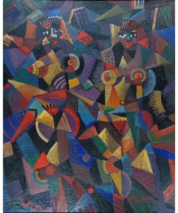 """Obraz """"Dwie tancerki"""" - sygnowany J. Popczyk"""