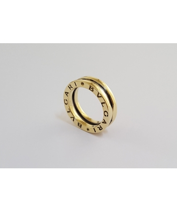 Złota obrączka próby 750 z napisem BVLGARI
