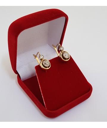 Złote kolczyki w stylu Art Deco z 4 brylantami - 1,67 ct