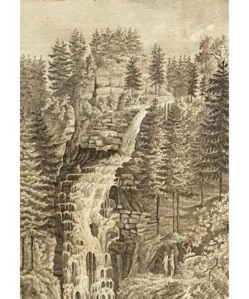 Drzeworyt z 1822 roku - Wodospad Kamieńczyka - Zackelfall